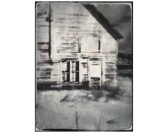 Moody Barn Photo, Rustic Decor, Rural Americana, White Barn, Western Art, Black and White, Rustic Home Decor