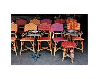 Paris Café, Rattan Chairs, Bistro Photograph, Red Plaid, Sidewalk Cafe, French Bistro, Paris Photography