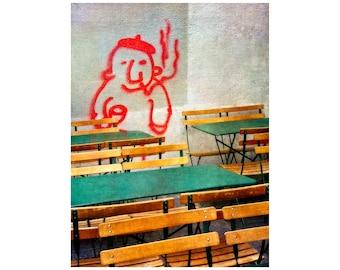 Paris Street Art, French Wine, Sidewalk Cafe, Bistro, Travel Photography, Restaurant Art