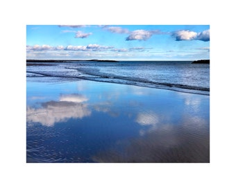 Winter Beach Photo, South of France, Shades of Blue, Ocean, Sea, Nature Photography