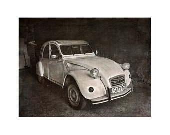 Deux Chevaux Car, 2CV, French Car, Monochrome, France, Classic Car