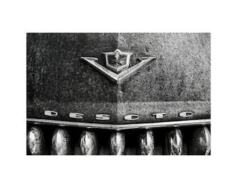 DeSoto Grille, Black and White Photo, Scrap Yard, Midcentury Modern, Contemporary Decor, Old Car, Junkyard