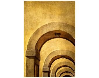 Golden Arches Photo, Florence, Italy, Vasari Corridor, Ponte Vecchio, Mustard Gold Home Decor, Office Decor