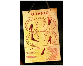 Shop Hours Photo, Fun Office Decor, Midcentury, Travel Photography, Tuscan Gold