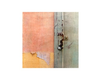 Pastel Colors Photo, Old Door Latch, Spring Hues, Abstract Photography, Contemporary Decor