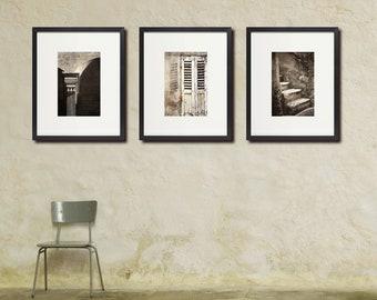 Rustic Europe Photo Set, Warm Monochrome, Neutral Colors, Large Wall Art, Set of Three 3 Prints