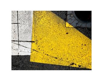 Street Geometry Photo, Modern Art, Abstract Photography, Asphalt, Contemporary Art, Yellow