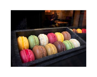 Macarons Photo, Paris Cookies, Food Art, Gift for Chef, Kitchen Art, Colorful