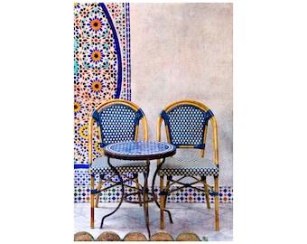 Cool Blue Chairs, Paris Photography, Rattan Chairs, Paris Café, Blue Tiles, Courtyard, Travel Photography