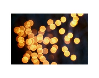 Golden Lights Photo, Night, Romance, Mystery, Magic, Abstract Photography, Polka Dots, Gold Home Decor, Bokeh