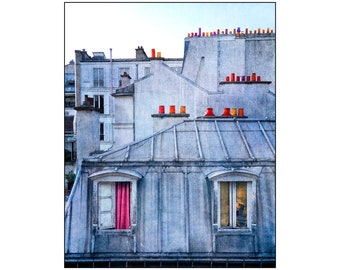 Paris Rooftops Photo, Surreal France, Chimneypot, Top of the World, Travel Photography