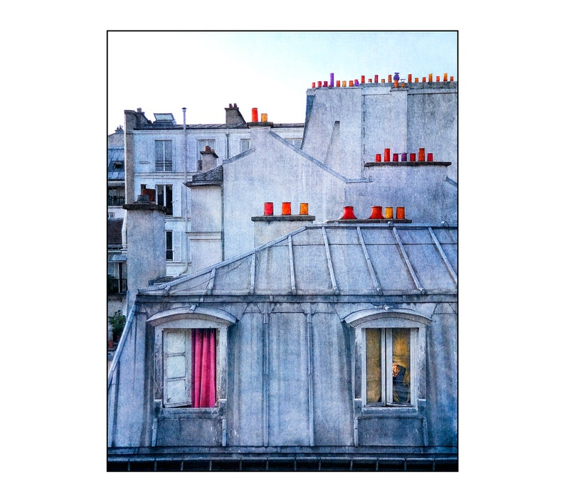 Paris Rooftops Photo Surreal France Chimneypot Top of the image 0