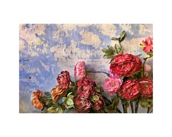 Faded Flowers Photo, Malaysia Photograph, Rich Texture, Pink Red Flowers, Wabi Sabi
