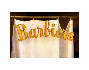 Barber Shop Sign Photo, Tuscany, Italy, Gold Lettering, Travel Photography