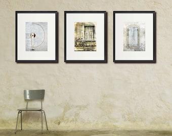 Rustic France Photo Set, Neutral Colors, Large Wall Art, Set of Three 3 Prints, Monochrome