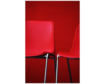 Red Chairs Photo, Fire Engine Red, Modern Art, Bold Office Decor, Abstract Photography