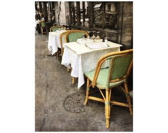 Paris Bistro Photograph, Sidewalk Café, Rattan Chairs, Paris Photography, Shabby Chic, French Bistro, Mint Green
