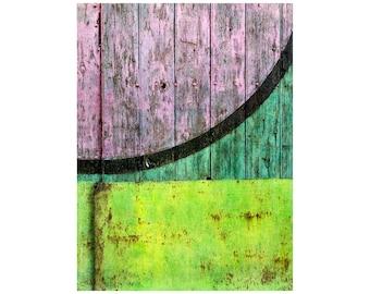 Watermelon Abstract Photo, Bright Colors, Contemporary Decor, Pink, Green, Circle