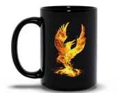 Phoenix Rising Black Coffee Mugs, Firebird Of Rebirth, Mythic Egyptian Bird Of Renewal, Phoenix Art, Phoenix Artwork