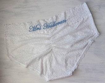 IVORY or White Lace Ruched Booty w Something Blue - Customized Bridal Panties - Embroidered Bride Underwear  - Sizes XS-3X