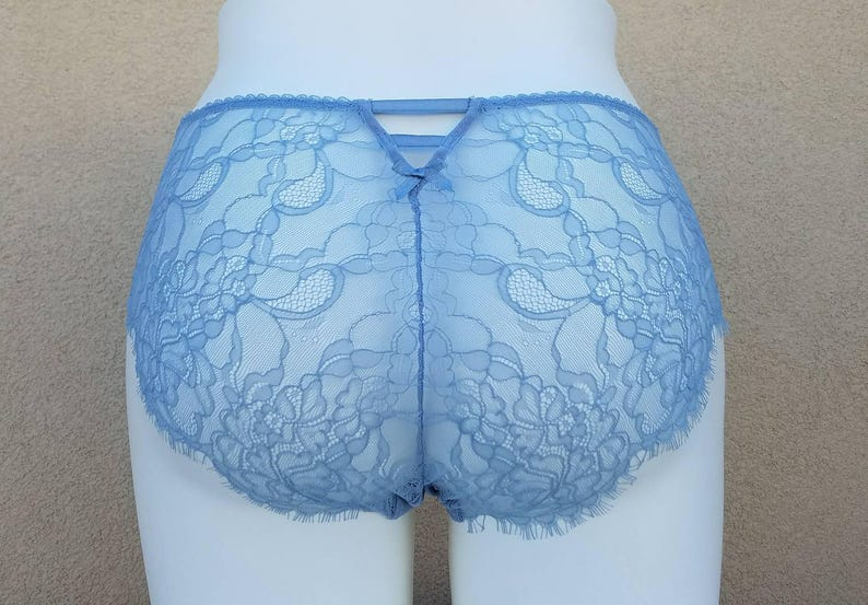 4909195c3c2 Smoky BLUE Lace Bridal Panties w Strappy Back   Bows