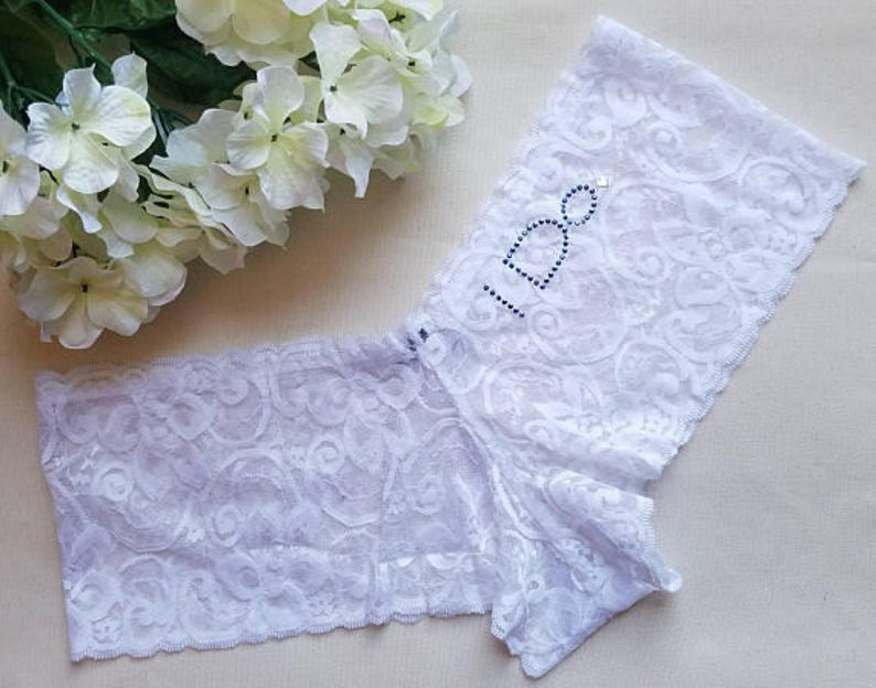 c30be6d28 WHITE Lace Cheeky Boyshort w I Do in Something Blue