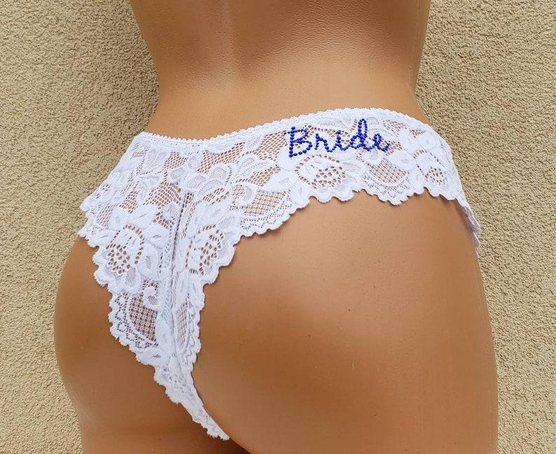9a67f3db63de WHITE Lace Tanga w/ Something Blue Personalized Bridal | Etsy