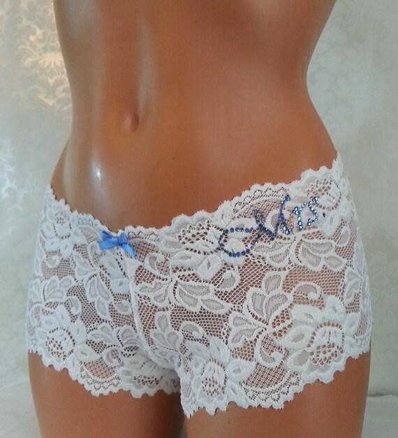 4588c7c0c795 WHITE Lace Cheeky w/ Something Blue Personalized Bridal | Etsy