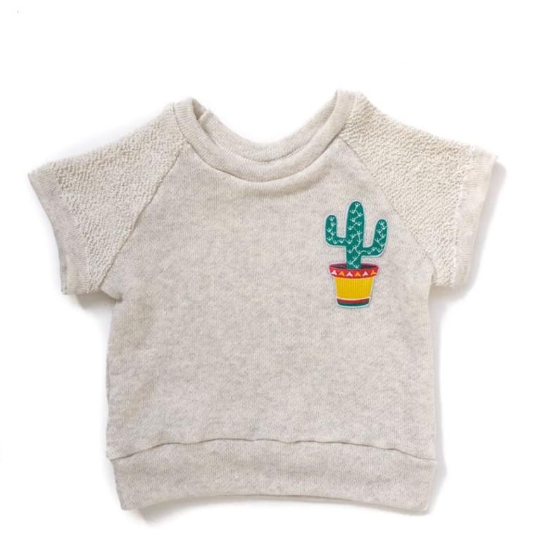 www.brownsugarbeach.com Cactus Patch Short Sleeved Raglan Sweatshirt