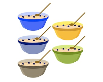 Mixing Bowls - Blueberry Muffin Baking - Digital Clip Art - Instant Download