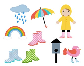 Umbrella - Raincloud - Rainbow - Rainy Day Garden - Digital Clip Art - Instant Download