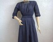 On Sale 1900 39 s Edwardian Dusty Blue Cotton Dress Gown Size 23 quot Waist