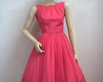 "On Sale! 1950's Dark Pink Chiffon Swing Dress With Full Skirt - 24"" Waist"