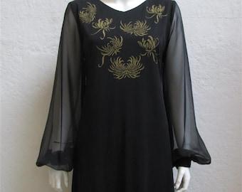 "On Sale! 1960's ""Alfred Shaheen"" Black Sheath Dress / Gold Flowers / Size: 36"" Bust"