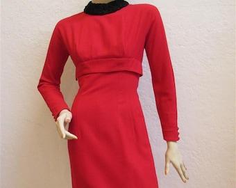 "On Sale! 1960's ""Jonathan Logan"" Red Wool Wiggle Dress / Black Persian Lamb Collar / Size: 25"" Waist"