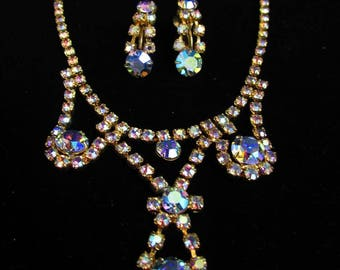 On Sale! 1960's Aurora Borealis Jewelry Set / Necklace and Clip-on Earrings