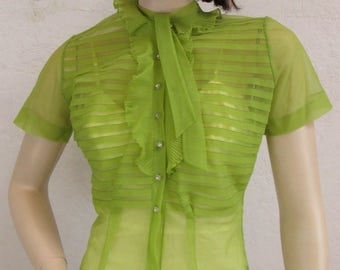"""On Sale! 1940's Chartreuse Blouse / Sheer Nylon / Size: 32"""" Bust"""