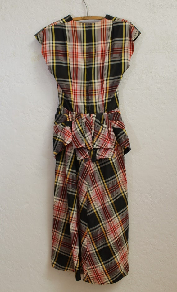 1940's Dress with Draped Peplum in Black, Red, Wh… - image 6