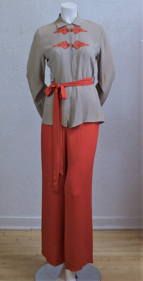 Rare 1940's Pants Suit in Two-Tone Taupe Tan and S