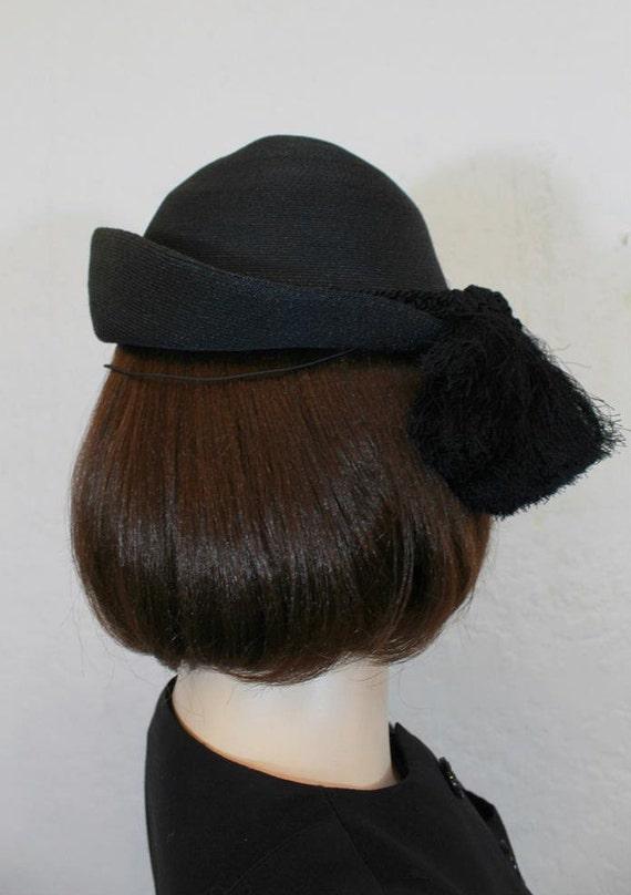 af2a46dd9be 1940 s Hattie Carnegie Black Woven Hat   Braid