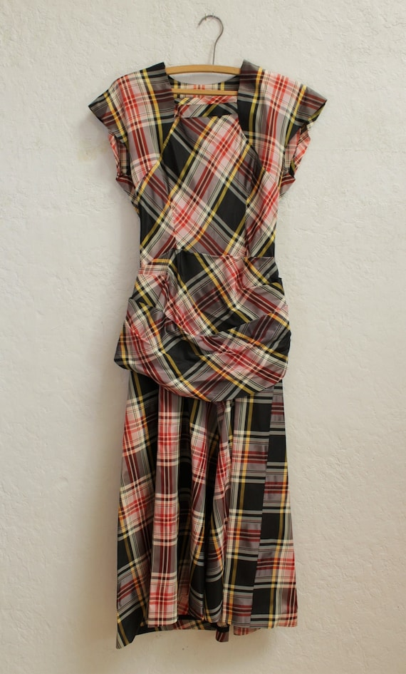 1940's Dress with Draped Peplum in Black, Red, Wh… - image 5