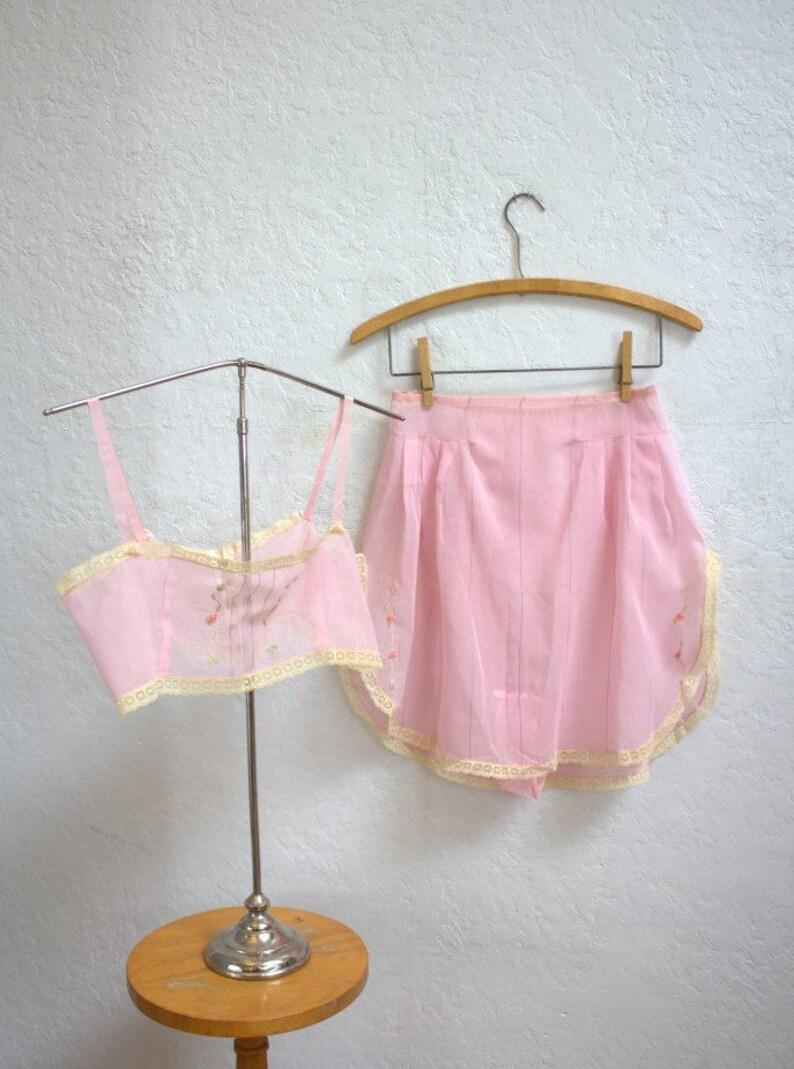 fb66219b3a2 On Sale 1920 s Pink Cotton Voile Lingerie Set   Bralette