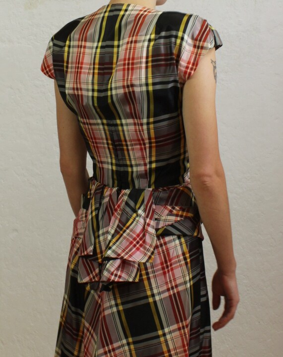 1940's Dress with Draped Peplum in Black, Red, Wh… - image 3