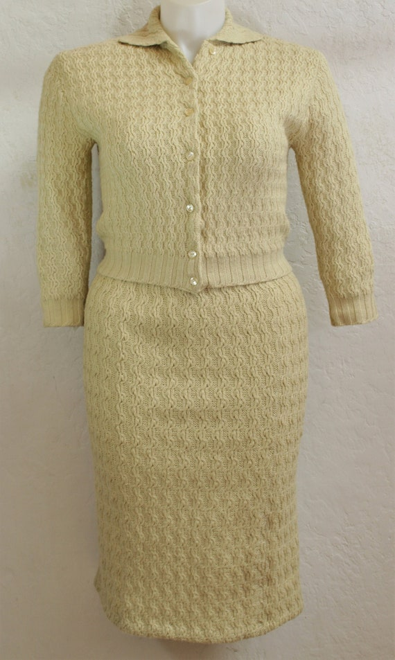 1950's Two Piece Sweater and Skirt Set in Vanilla
