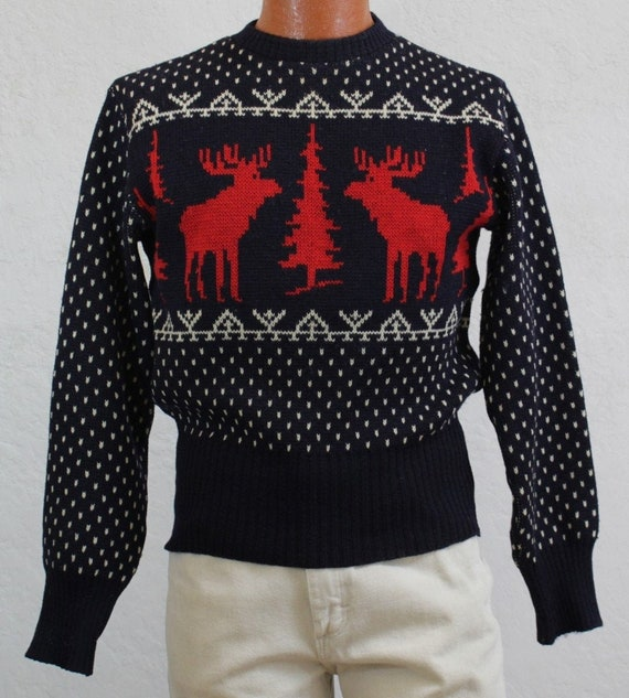 """1940's """"Jersild"""" Navy Wool Sweater with Red Moose"""