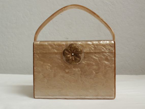"1950's ""Wilardy"" Light Tan and Gold Lucite Box Pur"