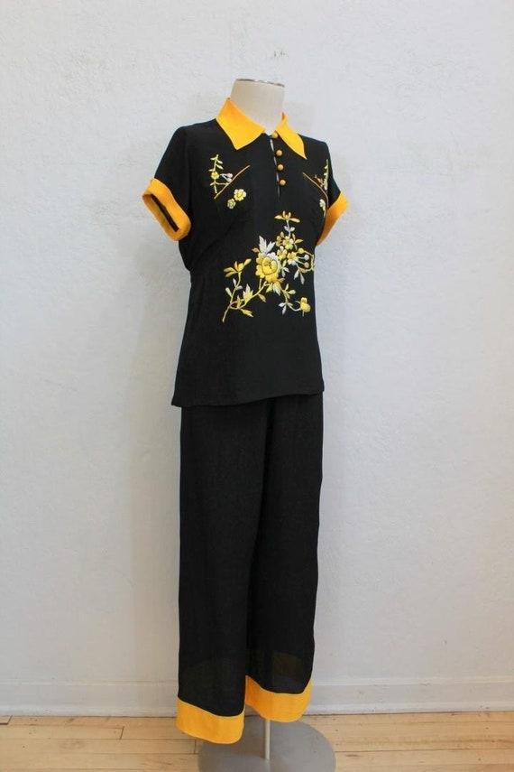 1940 s Japanese Black Rayon Crepe Loungewear   Vintage  6638f755e