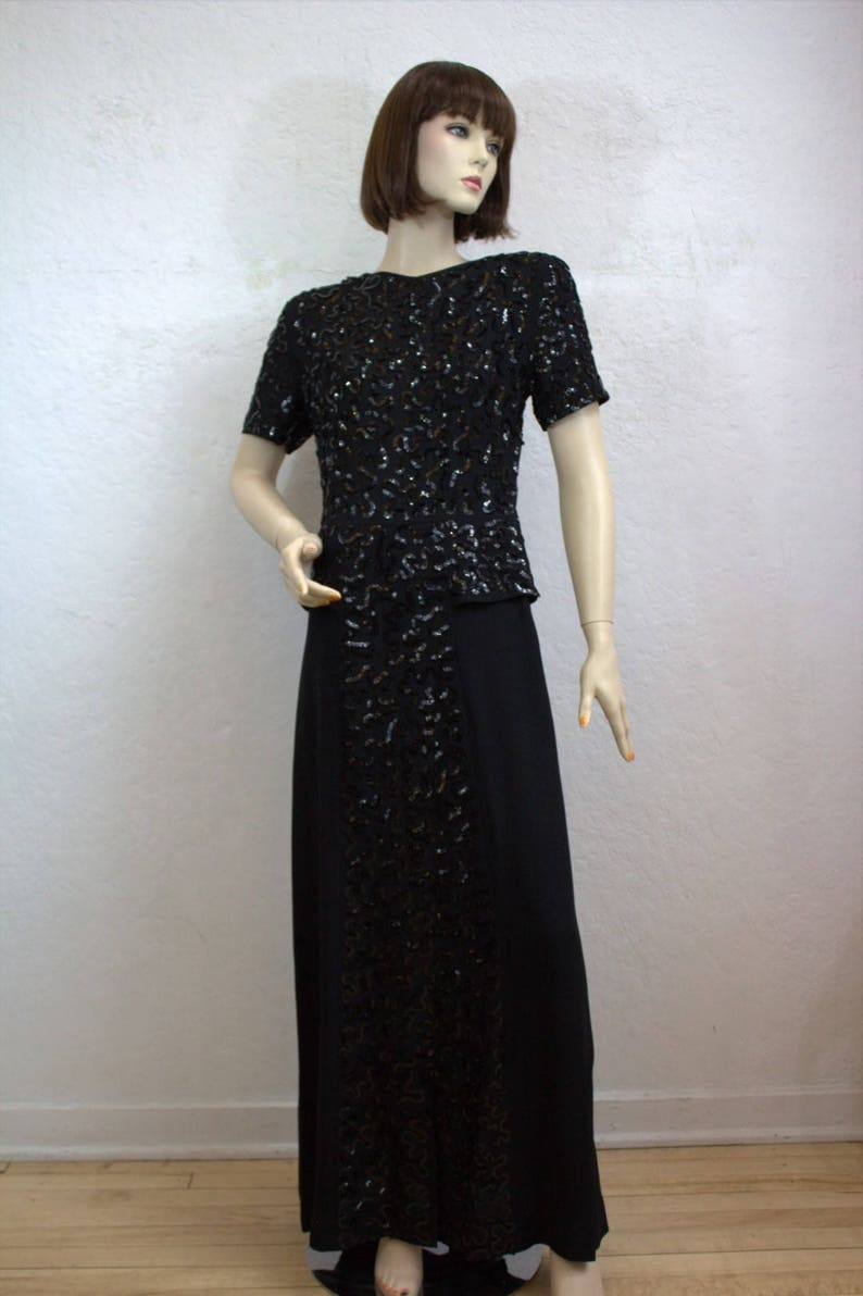 1c336c42ad On Sale 1940 s Black Rayon Short Sleeve Gown with Black