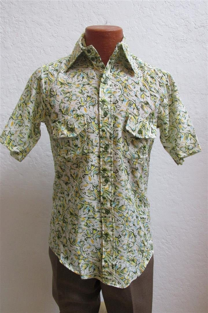 1970s Men's Shirt Styles – Vintage 70s Shirts for Guys 1960s Cambridge Multi Colored Mens ShirtDeadstock Size Small $29.00 AT vintagedancer.com