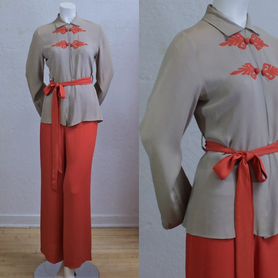 Rare 1940's Pant Suit in Two-Tone Taupe Tan and Sa